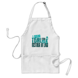 I Wear Teal For Mother-In-Law 6.4 Ovarian Cancer Standard Apron