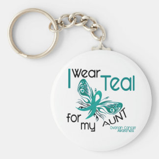 I Wear Teal For My Aunt 45 Ovarian Cancer Basic Round Button Key Ring