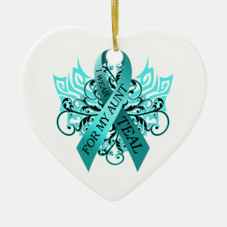 I Wear Teal for my Aunt.png Christmas Ornament
