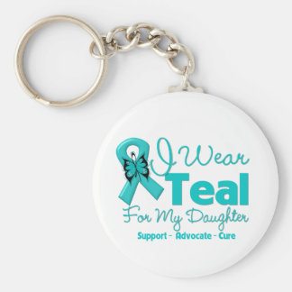 I Wear Teal For My Daughter Basic Round Button Key Ring