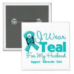 I Wear Teal For My Husband 15 Cm Square Badge