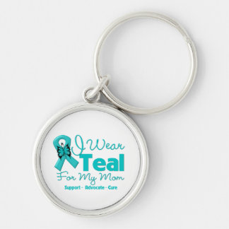 I Wear Teal For My Mom Silver-Colored Round Key Ring