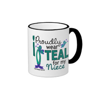 I Wear Teal For My Niece 27 Ovarian Cancer Coffee Mugs