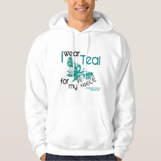 I Wear Teal For My Niece 45 Ovarian Cancer Hooded Pullovers