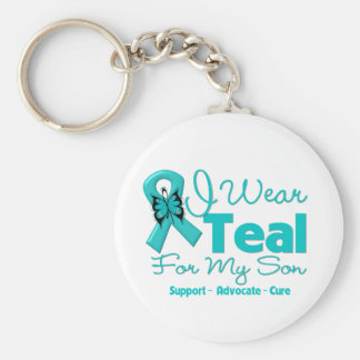 I Wear Teal For My Son Keychains