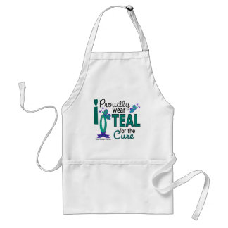 I Wear Teal For The Cure 27 Ovarian Cancer Standard Apron