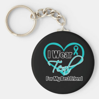 I Wear Teal Heart Ribbon For My Best Friend Basic Round Button Key Ring