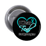 I Wear Teal Heart Ribbon For My Daughter 6 Cm Round Badge