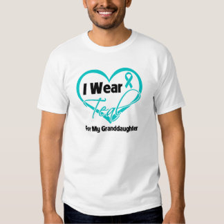 I Wear Teal Heart Ribbon For My Granddaughter Tees
