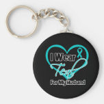 I Wear Teal Heart Ribbon For My Husband Basic Round Button Key Ring