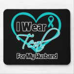 I Wear Teal Heart Ribbon For My Husband Mouse Mat