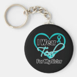 I Wear Teal Heart Ribbon For My Sister Basic Round Button Key Ring