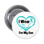 I Wear Teal Heart Ribbon For My Son 6 Cm Round Badge
