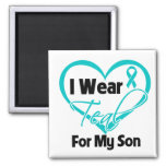 I Wear Teal Heart Ribbon For My Son Fridge Magnets