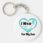 I Wear Teal Heart Ribbon For My Son Basic Round Button Key Ring