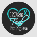 I Wear Teal Heart Ribbon For My Son Round Sticker