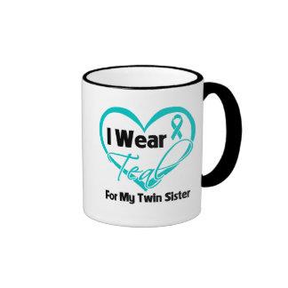I Wear Teal Heart Ribbon For My Twin Sister Coffee Mugs