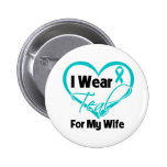 I Wear Teal Heart Ribbon For My Wife 6 Cm Round Badge