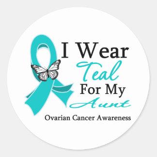 I Wear Teal Ribbon Aunt Ovarian Cancer Round Sticker