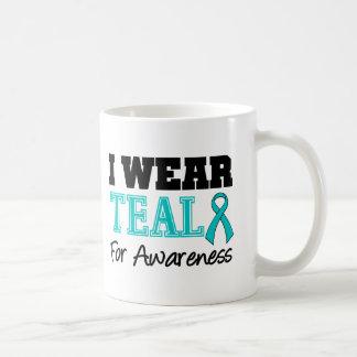 I Wear Teal Ribbon For Awareness Basic White Mug