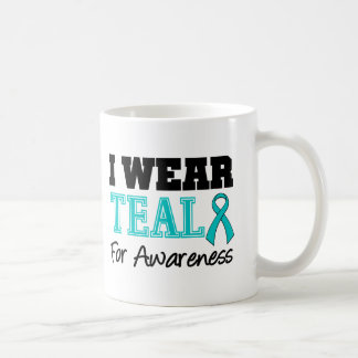 I Wear Teal Ribbon For Awareness Classic White Coffee Mug