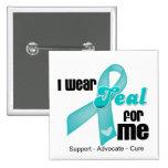 I Wear Teal Ribbon For Me 15 Cm Square Badge