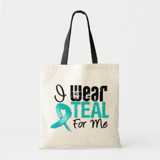 I Wear Teal Ribbon For Me Canvas Bags