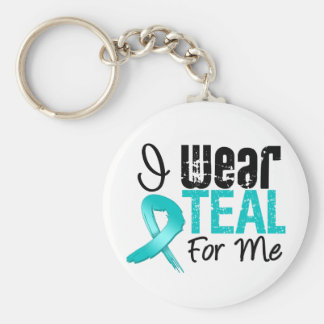 I Wear Teal Ribbon For Me Basic Round Button Key Ring