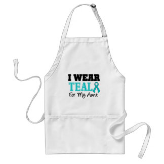 I Wear Teal Ribbon For My Aunt Adult Apron
