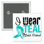 I Wear Teal Ribbon For My Best Friend Button