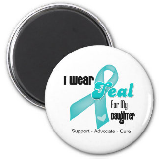 I Wear Teal Ribbon For My Daughter 6 Cm Round Magnet