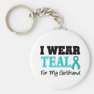 I Wear Teal Ribbon For My Girlfriend Basic Round Button Key Ring