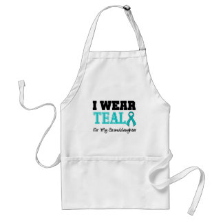 I Wear Teal Ribbon For My Granddaughter Apron