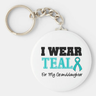 I Wear Teal Ribbon For My Granddaughter Basic Round Button Key Ring