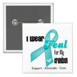 I Wear Teal Ribbon For My Grandson 15 Cm Square Badge