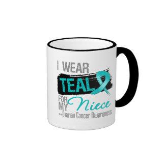 I Wear Teal Ribbon For My Niece Ovarian Cancer Mug