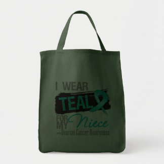 I Wear Teal Ribbon For My Niece Ovarian Cancer Grocery Tote Bag