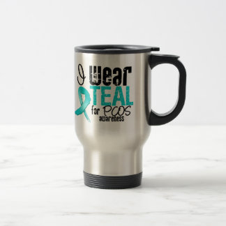 I Wear Teal Ribbon For PCOS Awareness Stainless Steel Travel Mug