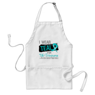 I Wear Teal Ribbon For The Warriors Ovarian Cancer Apron