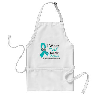 I Wear Teal Ribbon Niece Ovarian Cancer Standard Apron