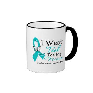 I Wear Teal Ribbon Niece Ovarian Cancer Mugs