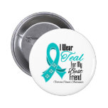 I Wear Teal Ribbon Ovarian Cancer Best Friend Pin