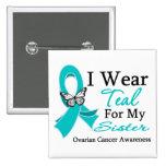 I Wear Teal Ribbon Sister Ovarian Cancer 15 Cm Square Badge