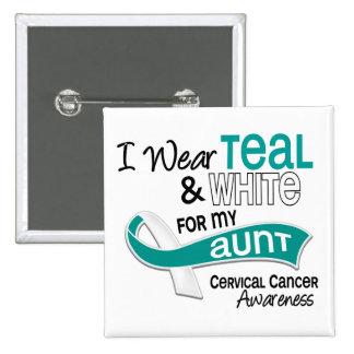I Wear Teal White 42 Aunt Cervical Cancer 15 Cm Square Badge