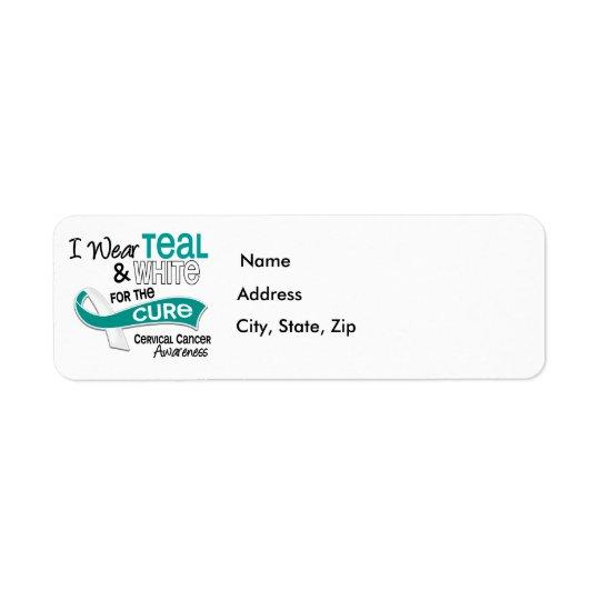 I Wear Teal White 42 Cure Cervical Cancer Return Address Label