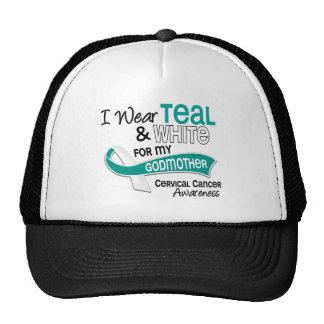 I Wear Teal White 42 Godmother Cervical Cancer Trucker Hat