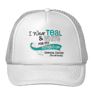 I Wear Teal White 42 Mother-In-Law Cervical Cancer Mesh Hat