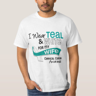 I Wear Teal White 42 Wife Cervical Cancer T-Shirt