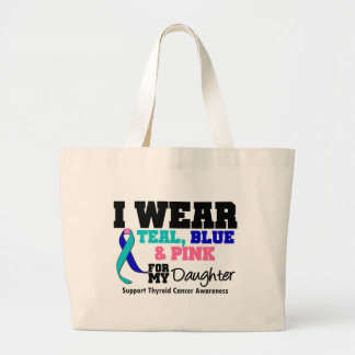 I Wear Thyroid Cancer Ribbon For My Daughter Jumbo Tote Bag