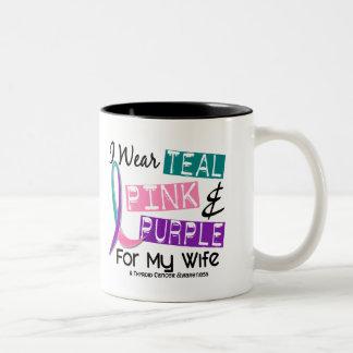 I Wear Thyroid Cancer Ribbon For My Wife 37 Two-Tone Mug
